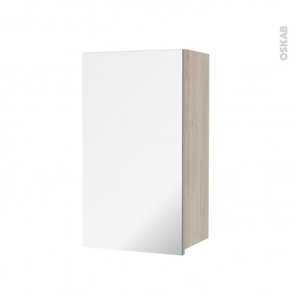Armoire de salle de bains - Rangement haut - IKORO Chêne clair - 1 porte miroir - Côtés décors - L40 x H70 x P27 cm