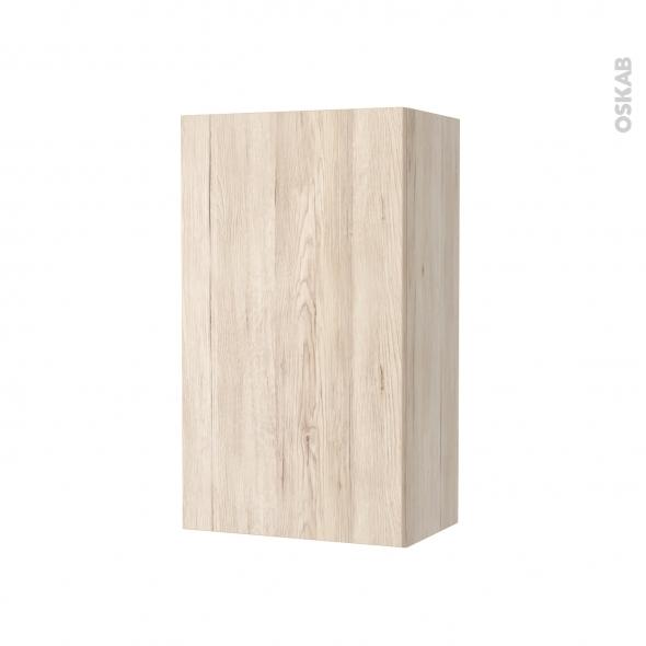 Armoire de salle de bains - Rangement haut - IKORO Chêne clair - 1 porte - Côtés décors - L40 x H70 x P27 cm