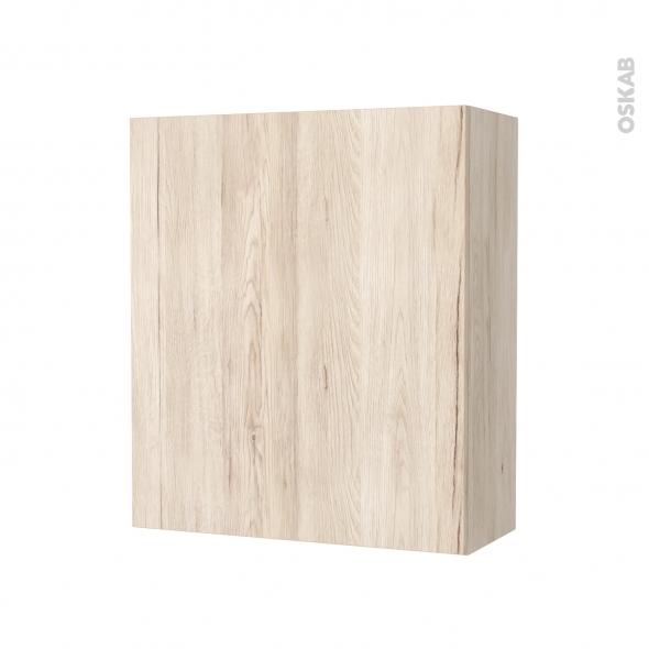 Armoire de salle de bains - Rangement haut - IKORO Chêne clair - 1 porte - Côtés décors - L60 x H70 x P27 cm