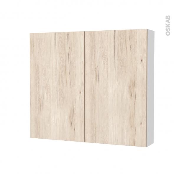 Armoire de toilette - Rangement haut - IKORO Chêne clair - 2 portes - Côtés blancs - L80 x H70 x P17 cm