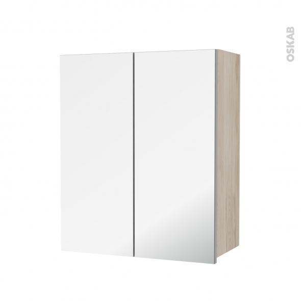 Armoire de salle de bains - Rangement haut - IKORO Chêne clair - 2 portes miroir - Côtés décors - L60 x H70  xP27 cm