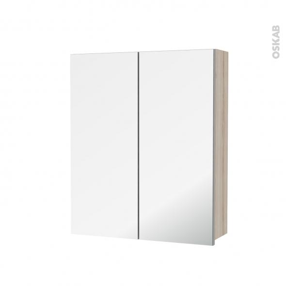 Armoire de toilette - Rangement haut - IKORO Chêne clair - 2 portes miroir - Côtés décors - L60 x H70 x P17 cm