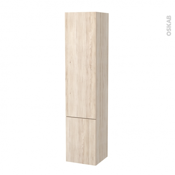 Colonne de salle de bains - 2 portes - IKORO Chêne clair - Côtés décors - Version B - L40 x H182 x P40 cm