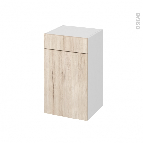Meuble de salle de bains - Rangement bas - IKORO Chêne clair - 1 porte 1 tiroir - L40 x H70 x P37 cm