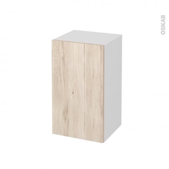 Meuble de salle de bains - Rangement bas - IKORO Chêne clair - 1 porte - L40 x H70 x P37 cm