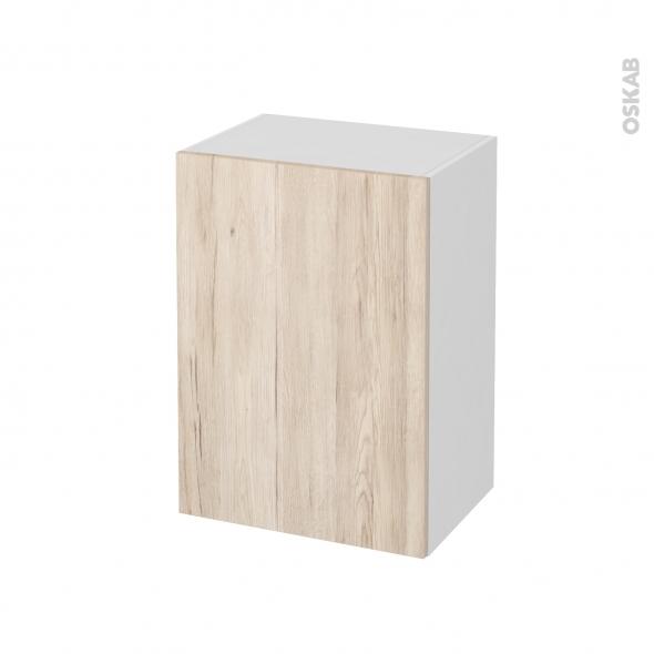 Meuble de salle de bains - Rangement bas - IKORO Chêne clair - 1 porte - L50 x H70 x P37 cm