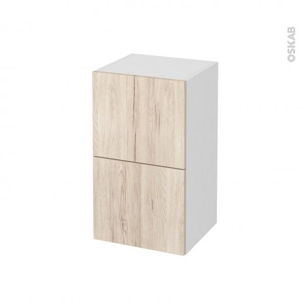 Meuble de salle de bains - Rangement bas - IKORO Chêne clair - 2 tiroirs 1 tiroir à l'anglaise - L40 x H70 x P37 cm