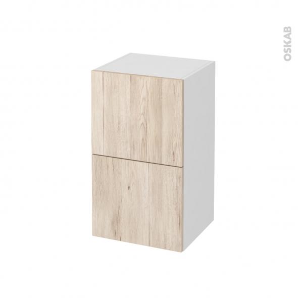 Meuble de salle de bains - Rangement bas - IKORO Chêne clair - 2 tiroirs - L40 x H70 x P37 cm
