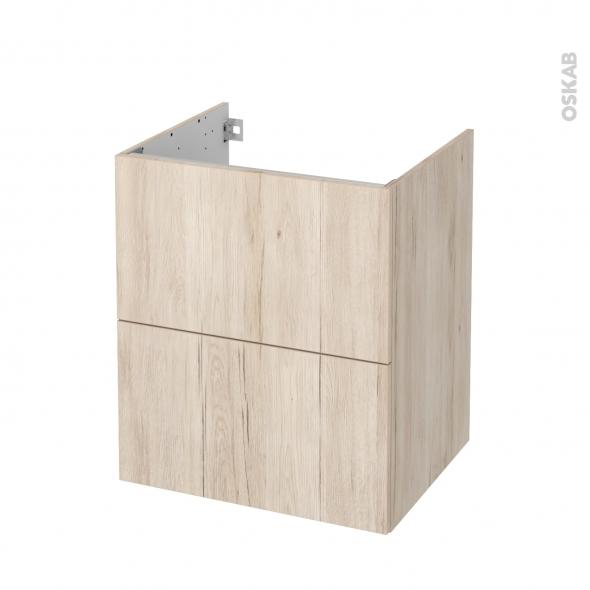 Meuble de salle de bains - Sous vasque - IKORO Chêne clair - 2 tiroirs - Côtés décors - L60 x H70 x P50 cm