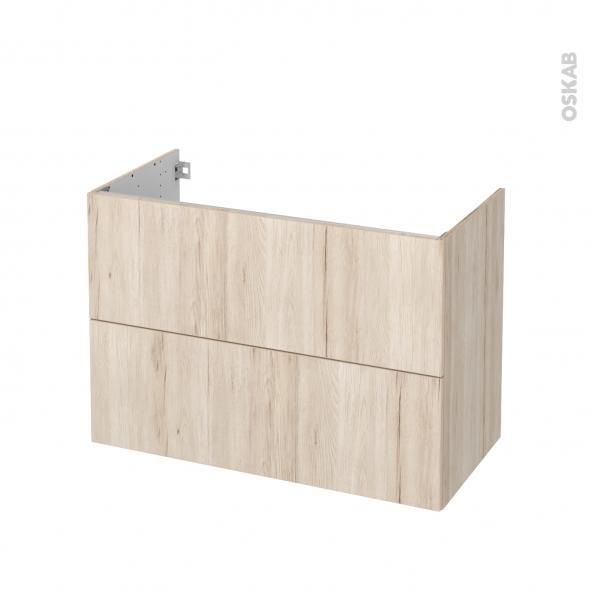 Meuble de salle de bains - Sous vasque - IKORO Chêne clair - 2 tiroirs - Côtés décors - L100 x H70 x P50 cm