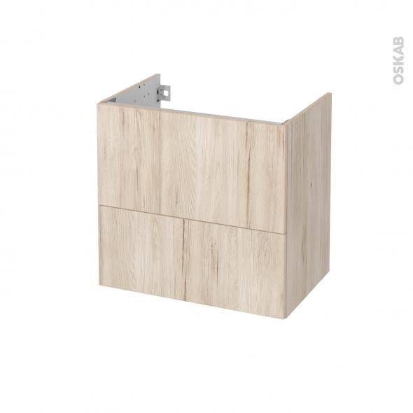 Meuble de salle de bains - Sous vasque - IKORO Chêne clair - 2 tiroirs - Côtés décors - L60 x H57 x P40 cm
