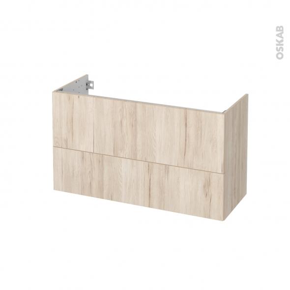 Meuble de salle de bains - Sous vasque - IKORO Chêne clair - 2 tiroirs - Côtés décors - L100 x H57 x P40 cm