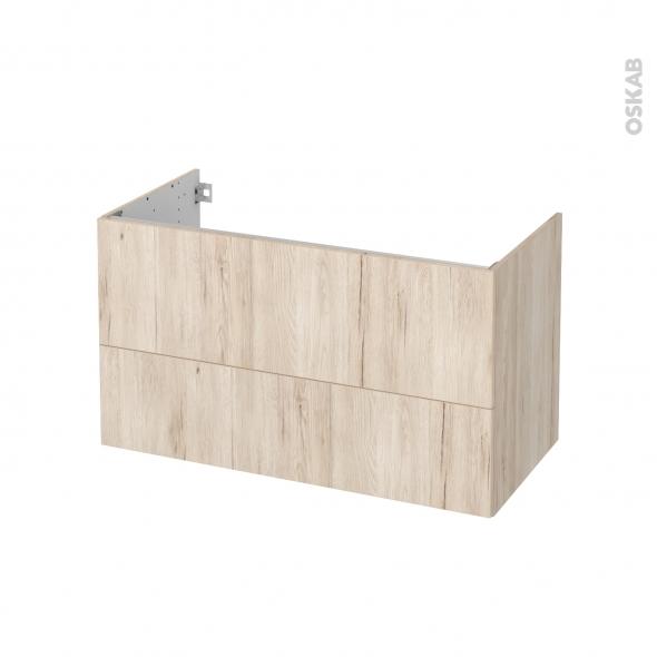 Meuble de salle de bains - Sous vasque - IKORO Chêne clair - 2 tiroirs - Côtés décors - L100 x H57 x P50 cm