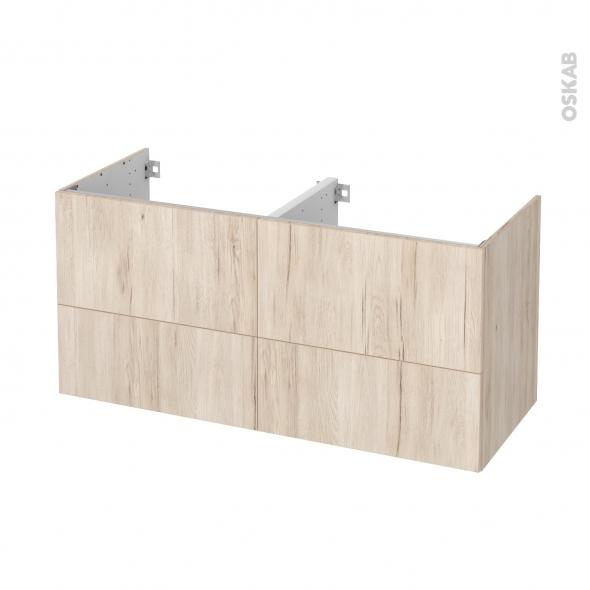 Meuble de salle de bains - Sous vasque double - IKORO Chêne clair - 4 tiroirs - Côtés décors - L120 x H57 x P50 cm