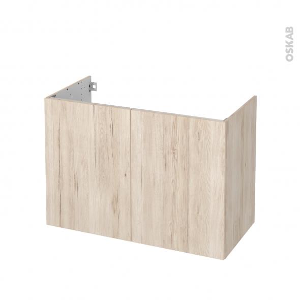 Meuble de salle de bains - Sous vasque - IKORO Chêne clair - 2 portes - Côtés décors - L100 x H70 x P50 cm