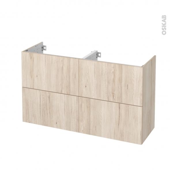 Meuble de salle de bains - Sous vasque double - IKORO Chêne clair - 4 tiroirs - Côtés décors - L120 x H70 x P40 cm