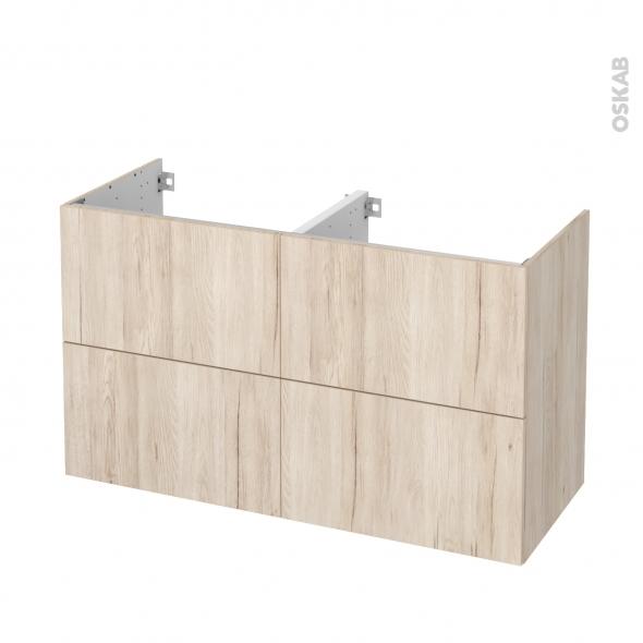 Meuble de salle de bains - Sous vasque double - IKORO Chêne clair - 4 tiroirs - Côtés décors - L120 x H70 x P50 cm