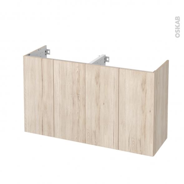 Meuble de salle de bains - Sous vasque double - IKORO Chêne clair - 4 portes - Côtés décors - L120 x H70 x P40 cm
