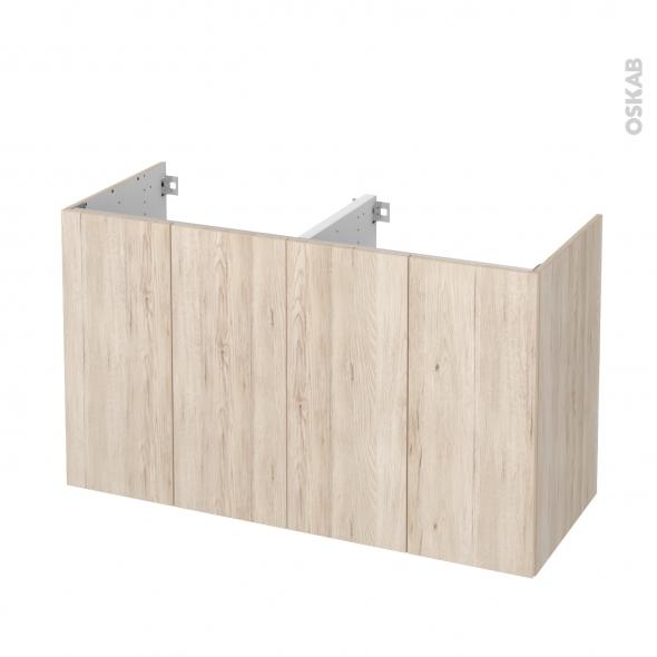 Meuble de salle de bains - Sous vasque double - IKORO Chêne clair - 4 portes - Côtés décors - L120 x H70 x P50 cm