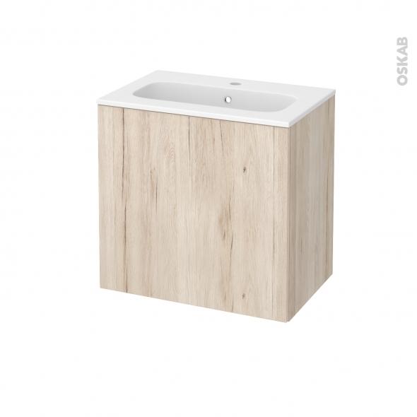 Meuble de salle de bains - Plan vasque REZO - IKORO Chêne clair - 1 porte - Côtés décors - L60,5 x H58,5 x P40,5 cm