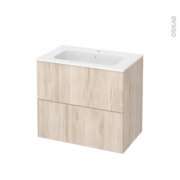 Meuble de salle de bains - Plan vasque REZO - IKORO Chêne clair - 2 tiroirs - Côtés décors - L80,5 x H71,5 x P50,5 cm
