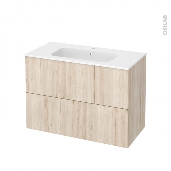 Meuble de salle de bains - Plan vasque REZO - IKORO Chêne clair - 2 tiroirs - Côtés décors - L100,5 x H71,5 x P50,5 cm
