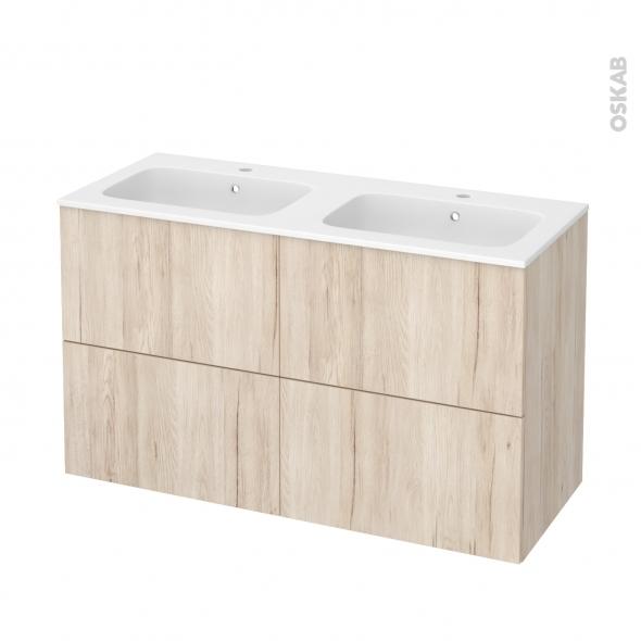Meuble de salle de bains - Plan double vasque REZO - IKORO Chêne clair - 4 tiroirs - Côtés décors - L120,5 x H71,5 x P50,5 cm