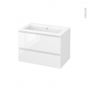 Meuble de salle de bains - Plan vasque NAJA - IPOMA Blanc brillant - 2 tiroirs - Côtés décors - L80,5 x H58,5 x P50,5 cm