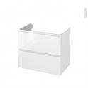 Meuble de salle de bains - Sous vasque - IPOMA Blanc brillant - 2 tiroirs - Côtés décors - L80 x H70 x P50 cm