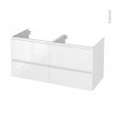 Meuble de salle de bains - Sous vasque double - IPOMA Blanc brillant - 4 tiroirs - Côtés décors - L120 x H57 x P50 cm