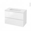 Meuble de salle de bains - Plan vasque REZO - IPOMA Blanc brillant - 2 tiroirs - Côtés décors - L100,5 x H71,5 x P50,5 cm