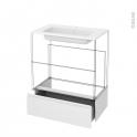 Tiroir sous meuble - Socle n°101 - IPOMA Blanc brillant - pour meuble salle de bains - L80 x H26 x P45 cm