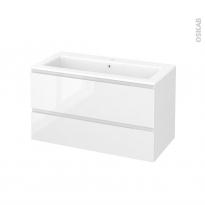 Meuble de salle de bains - Plan vasque NAJA - IPOMA Blanc brillant - 2 tiroirs - Côtés décors - L100,5 x H58,5 x P50,5 cm