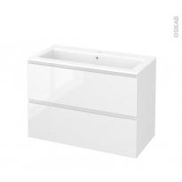Meuble de salle de bains - Plan vasque NAJA - IPOMA Blanc brillant - 2 tiroirs - Côtés décors - L100,5 x H71,5 x P50,5 cm