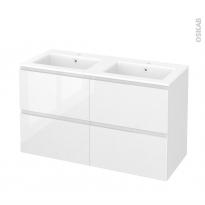 Meuble de salle de bains - Plan double vasque NAJA - IPOMA Blanc brillant - 4 tiroirs - Côtés décors - L120,5 x H71,5 x P50,5 cm