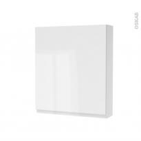 Armoire de toilette - Rangement haut - IPOMA Blanc brillant - 1 porte - Côtés décors - L60 x H70 x P17 cm