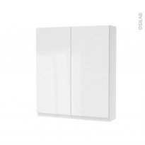 Armoire de toilette - Rangement haut - IPOMA Blanc brillant - 2 portes - Côtés blancs - L60 x H70 x P17 cm