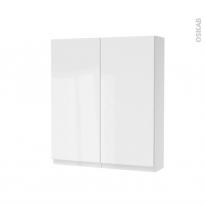 Armoire de toilette - Rangement haut - IPOMA Blanc brillant - 2 portes - Côtés décors - L60 x H70 x P17 cm
