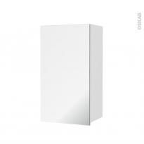 Armoire de salle de bains - Rangement haut - IPOMA Blanc brillant - 1 porte miroir - Côtés décors - L40 x H70 x P27 cm