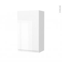 Armoire de salle de bains - Rangement haut - IPOMA Blanc brillant - 1 porte - Côtés blancs - L40 x H70 x P27 cm