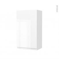 Armoire de salle de bains - Rangement haut - IPOMA Blanc brillant - 1 porte - Côtés décors - L40 x H70 x P27 cm