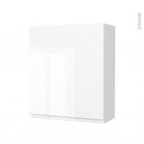 Armoire de salle de bains - Rangement haut - IPOMA Blanc brillant - 1 porte - Côtés blancs - L60 x H70 x P27 cm