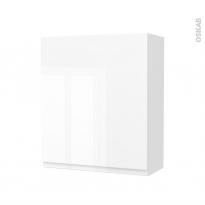 Armoire de salle de bains - Rangement haut - IPOMA Blanc brillant - 1 porte - Côtés décors - L60 x H70 x P27 cm