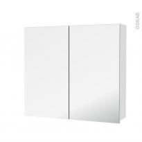 Armoire de toilette - Rangement haut - IPOMA Blanc brillant - 2 portes miroir - Côtés décors - L80 x H70 x P17 cm