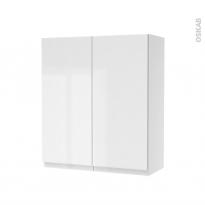 Armoire de salle de bains - Rangement haut - IPOMA Blanc brillant - 2 portes - Côtés décors - L60 x H70 x P27 cm