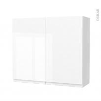 Armoire de salle de bains - Rangement haut - IPOMA Blanc brillant - 2 portes - Côtés blancs - L80 x H70 x P27 cm