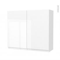 Armoire de salle de bains - Rangement haut - IPOMA Blanc brillant - 2 portes - Côtés décors - L80 x H70 x P27 cm