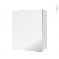 Armoire de salle de bains - Rangement haut - IPOMA Blanc brillant - 2 portes miroir - Côtés décors - L60 x H70  xP27 cm