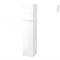 Colonne de salle de bains - 2 portes - IPOMA Blanc brillant - Côtés décors - Version A - L40 x H182 x P40 cm
