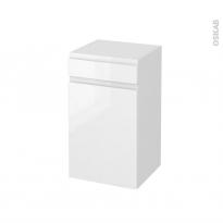Meuble de salle de bains - Rangement bas - IPOMA Blanc brillant - 1 porte 1 tiroir - L40 x H70 x P37 cm